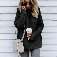 Sweaters Fashion 2018 Women Winter Clothing Christmas Oversized High Collar Loose Long Sleeve Knit Cotton Turtleneck Sweater 30