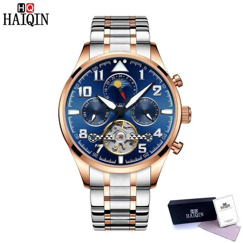 HAIQIN męskie zegarki automatyczne mechaniczne zegarka mężczyzna zegarek Tourbillon Moon Phase zegarek męski Top marka luksusowy zegarek mężczyźni Reloj Hombre w Zegarki mechaniczne od Zegarki na  Grupa 2