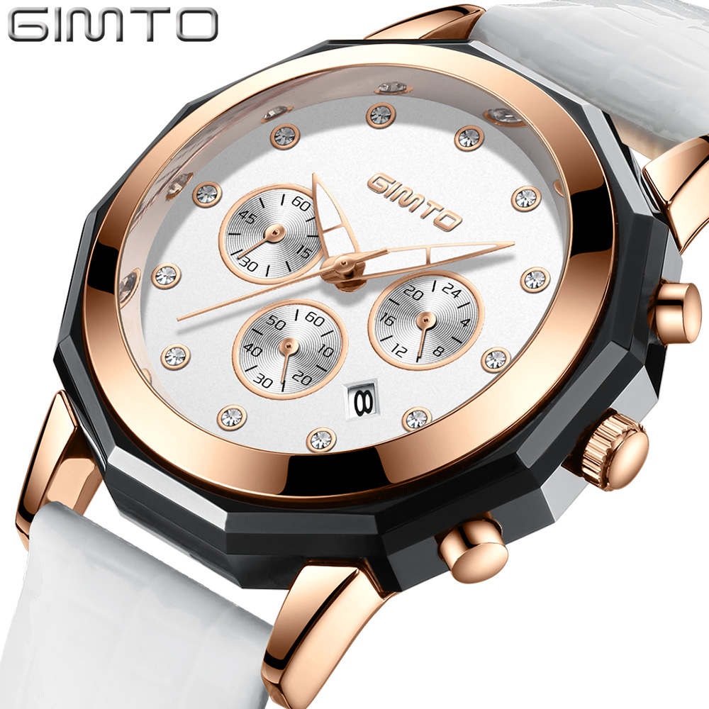 GIMTO Brand Luxury Crystal Women Watches Rose Gold Clock Leather Dress Bracelet Lovers Lady Quartz Watch Sport relogio feminino gimto brand luxury gold women watches steel quartz ladies rose bracelet watch casual clock lovers girl simple wristwatch relogio