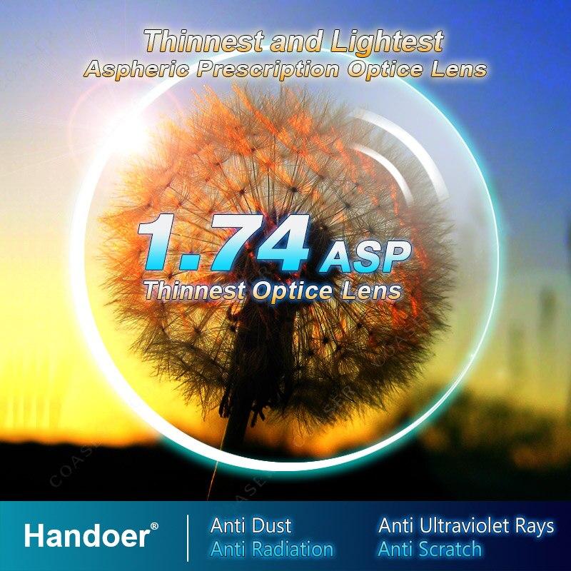 Handoer ультра-тонкий индекс 1,74 анти-радиационная защита оптическое одиночное видение асферические линзы анти-УФ рецептурные линзы, 2 шт.