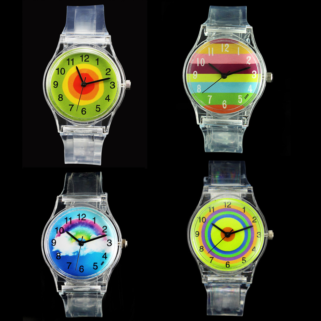 Rainbow Stripe White Clouds Multicolor Kids Circle Cartoon Transparent Wrist Watch Student Sports Child Boy Girl Gift Watches rainbow color stripe cartoon kids children watch boy girl novelty transparent band wrist watches