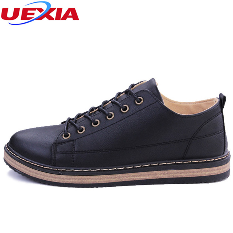 UEXIA Men Bullock Shoes New Fashion Round Flats Leather Comfortable Men Casual Shoes Male Breathable Shoes Restoring Ancient cbjsho brand men shoes 2017 new genuine leather moccasins comfortable men loafers luxury men s flats men casual shoes