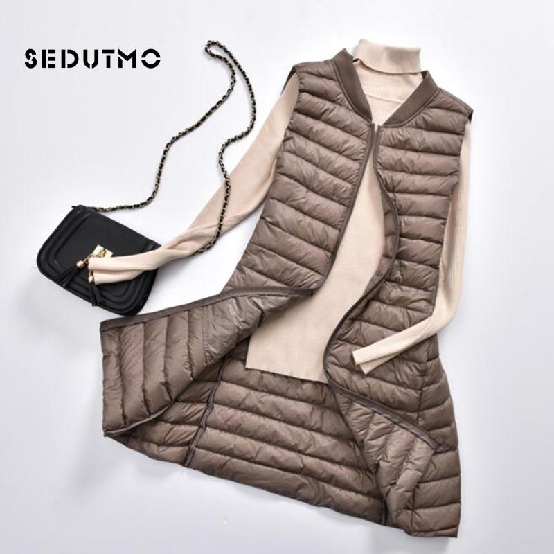 SEDUTMO Winter Plus Size 3XL Women Down Jackets Vest Long Ultra Light Duck Down Coat Autumn Puffer Waistcoat Slim Parkas ED506