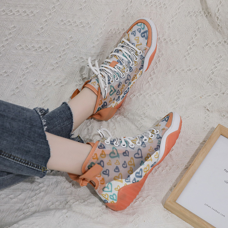 2019 Autumn Vulcanize Female Fashion Sneakers Lace Up Soft High Leisure Footwears Love Breathable Mesh Women Casual Shoes 42