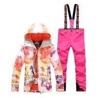 Аутентичные gsousnow женский лыжный костюм корейский ветрозащитная теплая дышащая Пеший Туризм Сноуборд костюм цвета, двойной борт