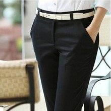 Женские весенние летние повседневные брюки размера плюс, дамские рабочие брюки для официального костюма со средней талией, черные прямые офисные узкие брюки S-6XL