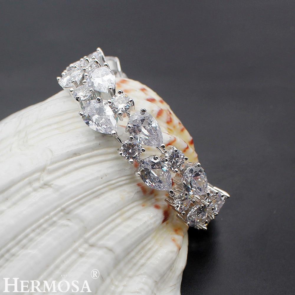 Hermosa jewelry 34PCS Genuine AAA Clear Fashion Charm White CZ 925 Sterling Silver Bracelet 7 DW31