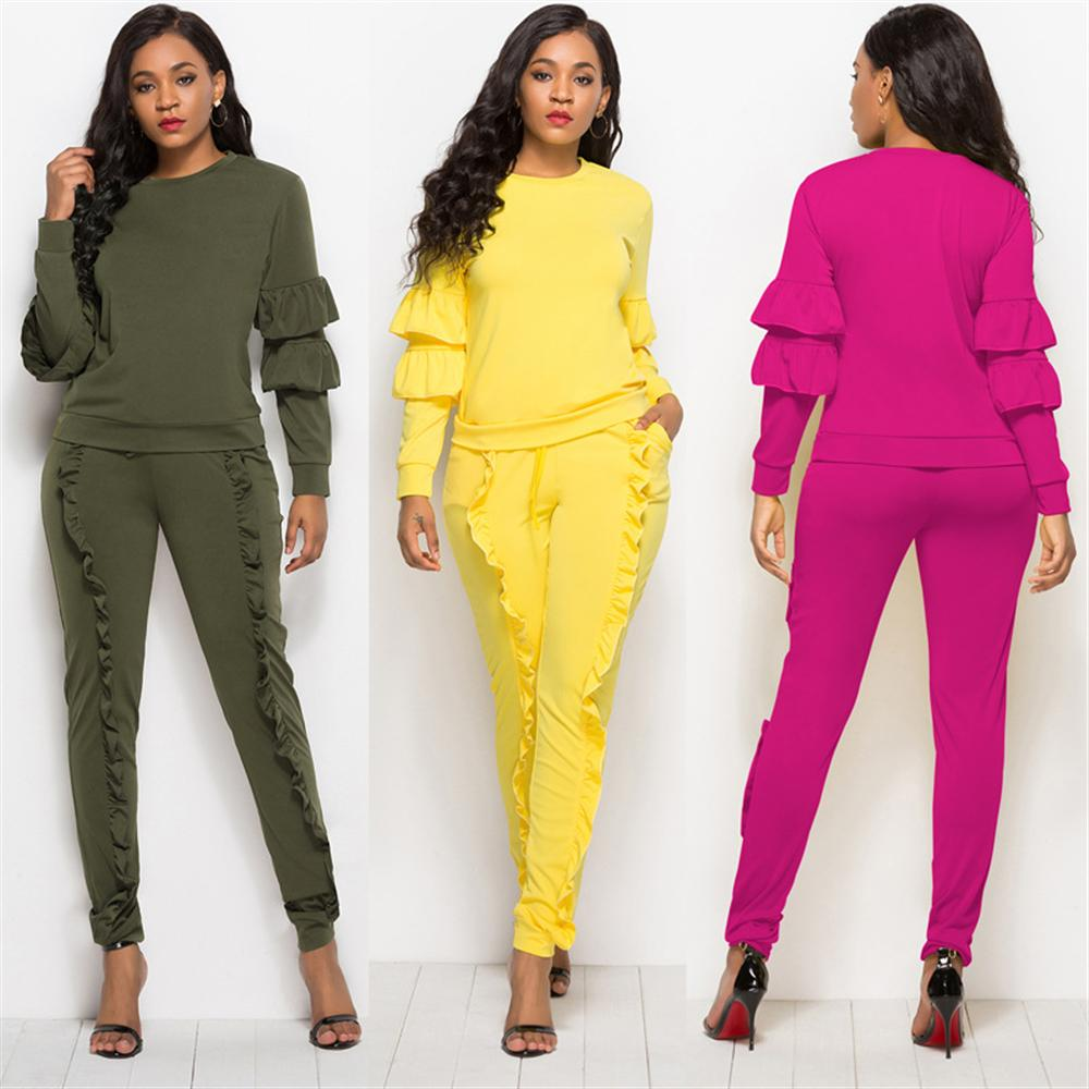 New Solid Ruffles Women Jumpsuits O-neck Long Sleeves Slim Bodycon Rompers Sheath Long Length Rompers Plus Size