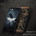 Для iphone 7 plus iphone 7 Чехол Черный Роскошный Тонкий Вернуться жесткий Броня Чехол для Apple iphone 7 Чехол 3d рельеф