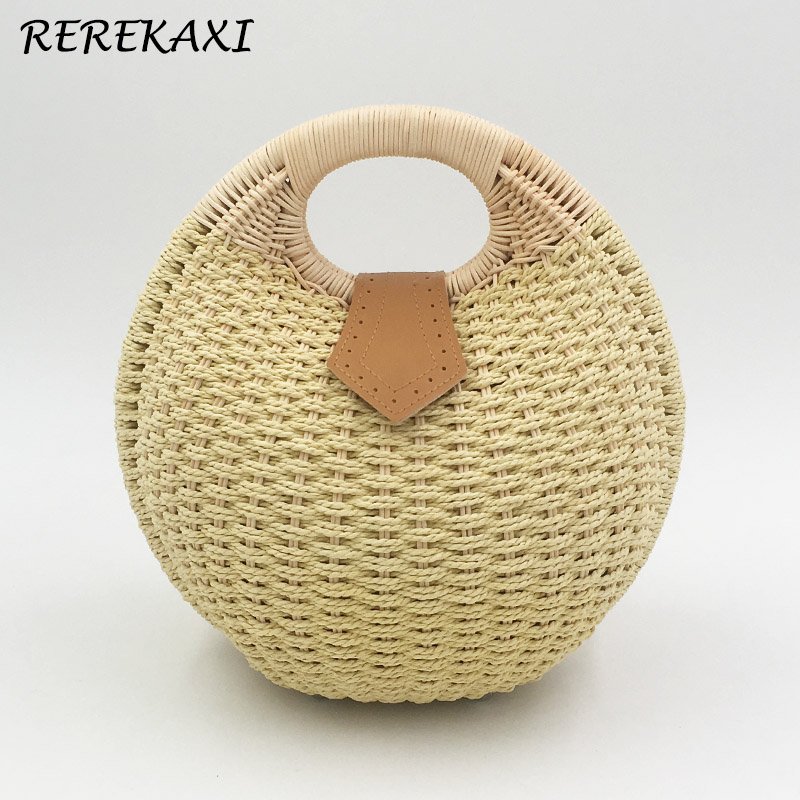 REREKAXI Snail shape women summer beach tote bags hand-woven straw bag women's handbag rattan bag hand straw tote handbag summer sunflower woven beach bag fashion large capacity women shopping bag patchwork flower straw bags