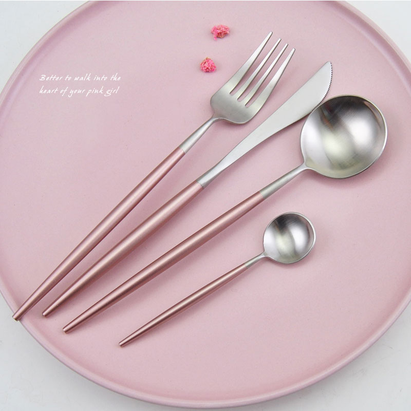 Chic Rose Gold Silver Dinnerware Set 304 Stainless Steel Plating Knife Fork Tableware Cutlery Elegant European Western Food Set-in Dinnerware Sets from Home ... & Chic Rose Gold Silver Dinnerware Set 304 Stainless Steel Plating ...