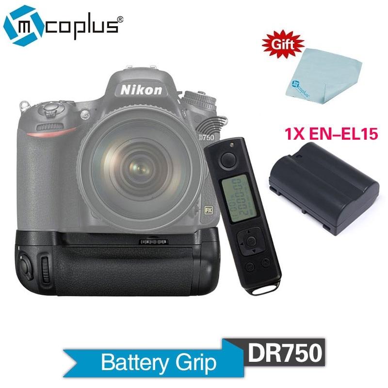 цена на Mcoplus BG-DR750 2.4G Vertical Battery Grip with 1pcs EN-EL15 Battery for Nikon DSLR D750 Camera as MB-D16 Meike MK-DR750