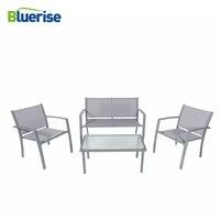 BLUERISE 4 шт. наружная мебель для патио набор текстилен ткань Всепогодная водостойкая серая бронированная стеклянная легкая чистка