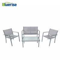 BLUERISE 4 Piece Outdoor Patio Furniture Set Textilene Fabric All weather Water Proof Grey Armored glass easy care clean