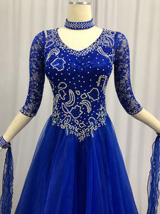 Image 3 - 社交ダンス競技ドレス女性の現代ワルツダンスドレスロイヤルブルー標準社交ダンススカート女性