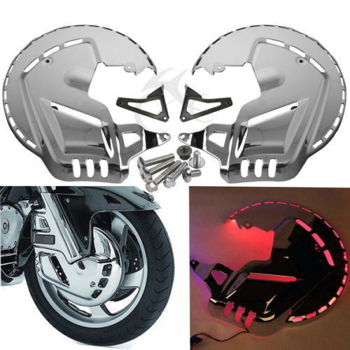 Chrome Motorbike Brake Rotor Covers W LED Ring Of Fire for Honda GOLDWING GL1800 2001 2014