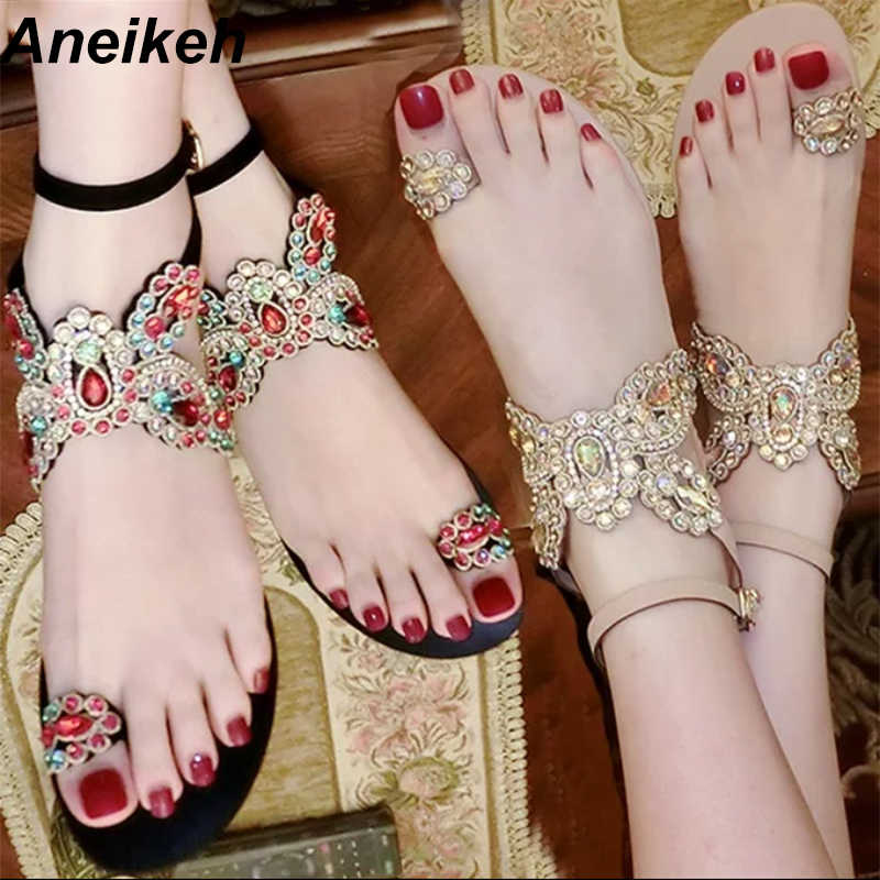 Aneikeh Summer Bling Bling Colorful Rhinestone Butterfly Woman Sandals  Crystal Flats Flip Flops Female Single Shoes 201499cc198c