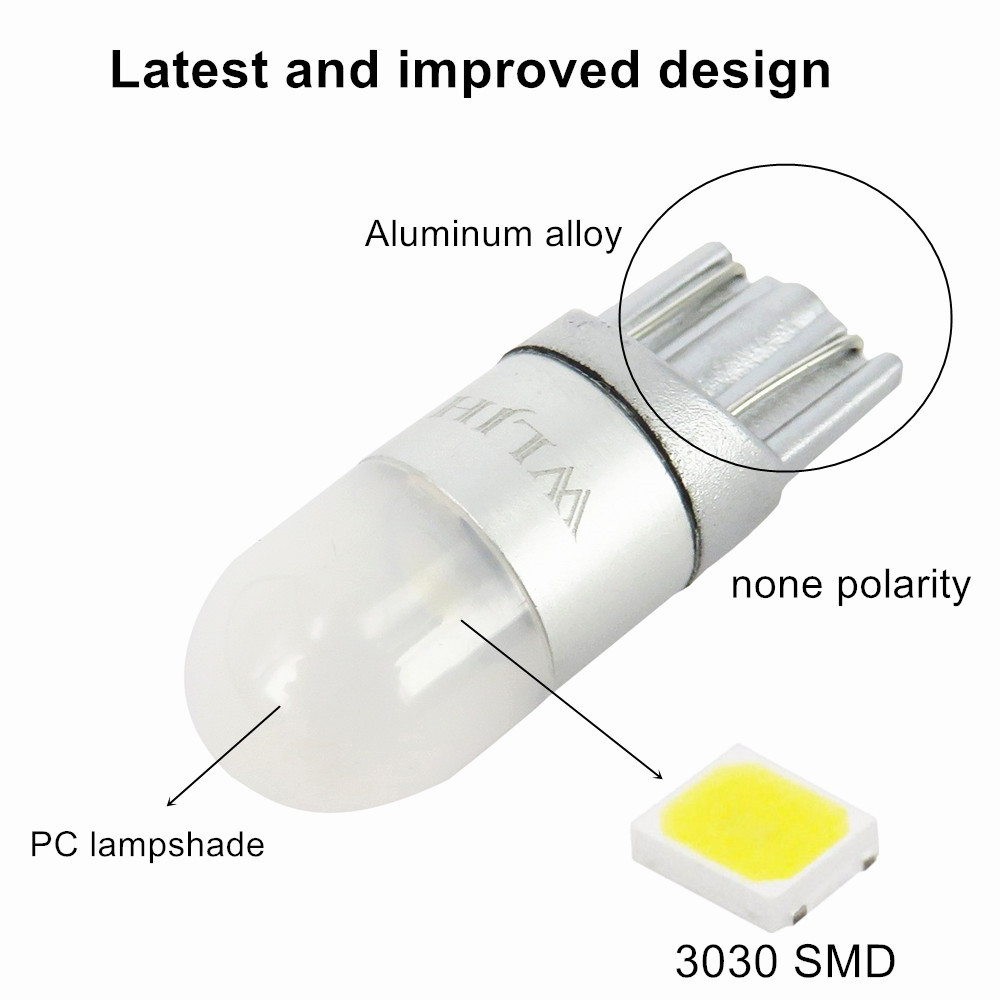 WLJH 2x 6000K White Car Light T10 W5W Led Wedge Bulb 3030 1SMD Auto Dome Reading Parking Lights Sidemarker Sidelight Lamp Bulbs in Signal Lamp from Automobiles Motorcycles