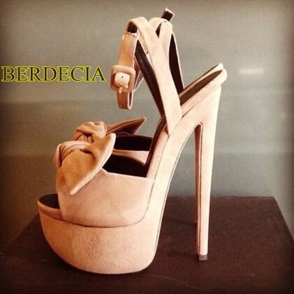 Fashion girls fuchsia/blue/green /apricot bowtie high platform sandals awesome buckle suede 20cm stiletto heel sweet shoes