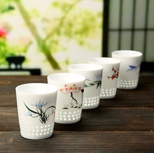 Kung Fu Tea Set China Ceramics Teacup Hand Painted Orchid Master Cup Pottery and Porcelain Coffee Mug Japanese Wine Glasses New