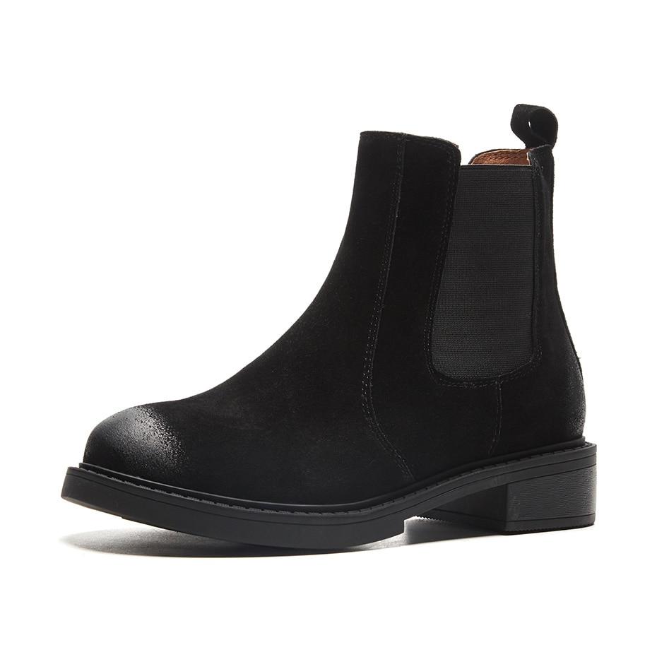 Noir En Cuir Suru D'hiver Black Bottines matte Chelsea Black Bottes Automne Femmes Véritable Ou OP80knw