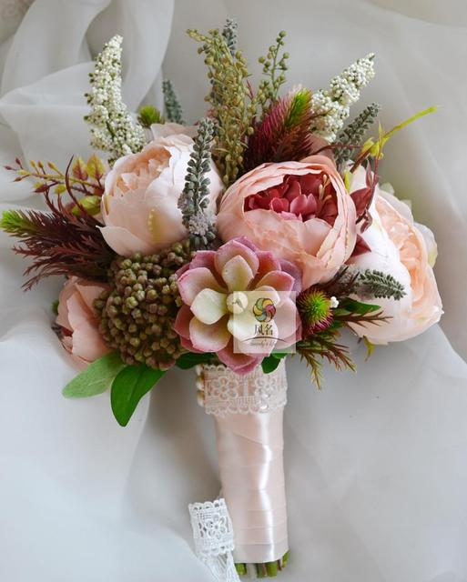 Handmade Wedding Supplies Bridal Bridesmaid Bouquet Artificial Peony Flowers Succulent Plants Holding Flower Home Decoration