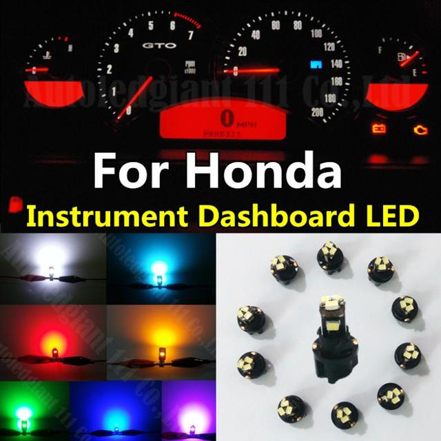 10pieces Green White Red Blue Dash T5 Led Socket Instrument Panel Light Bulb For Honda Accord
