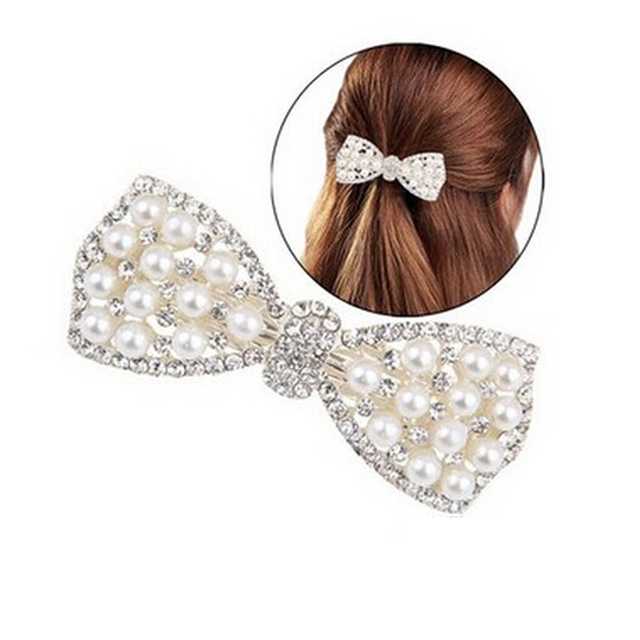 Crystal Rhinestone Bow Hair Clip