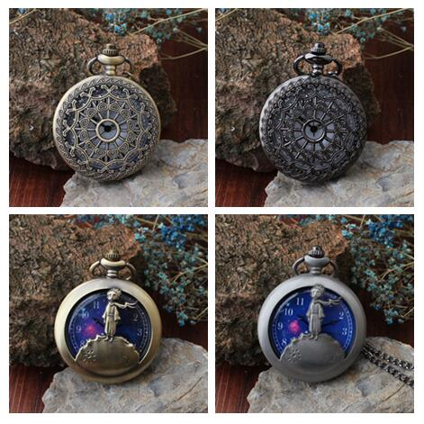 New Arrival The Little Prince And Spider's Web Bronze Quartz Pocket Watch Analog Pendant Necklace Mens Womens Kids Gifts