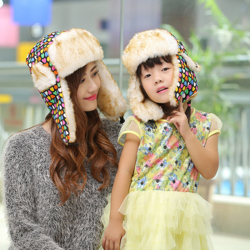Winter Hats Russian-Hat Ushanka Print for Parent-Child Colorful with Fur Thick Warm HT017