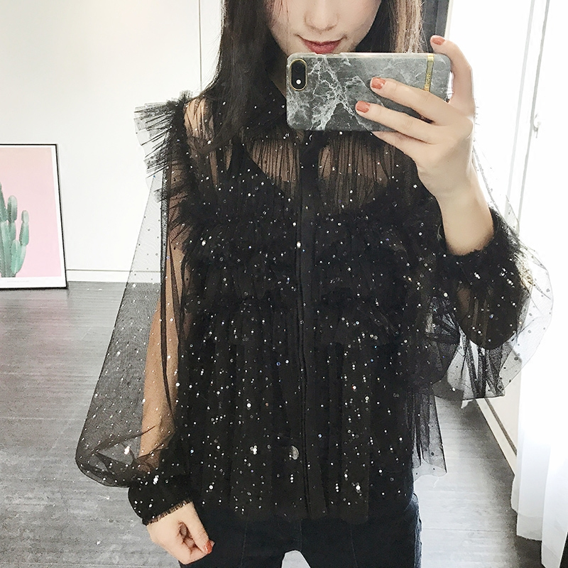2017 Moda Primavera Verano Mujer Lentejuelas Negro Blanco Blusa de La Gasa Camis