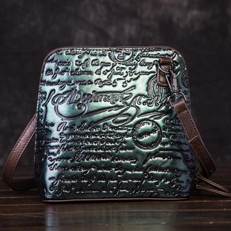 Woman Genuine Leather Shoulder Bag Vintage Abrasive Colorful Embossing Crossbody Messenger Bag Cowhide New Summer Shopping