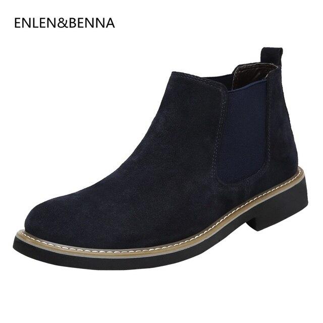 2017 Sonbahar Erkekler Ayak Bileği Boots Yüksek Kalite Gerçek Deri Erkekler Chelsea Çizme Siyah Erkekler Için Nedensel Ayakkabı Lastik Çizme Elbise ayakkabı