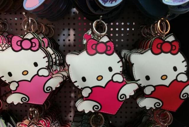607367f763de 10pcs hello kitty PU wallet Keychain Cute Key Ring Cover Holder Hadbag Bag  Women Men Kids Cat Jewelry Gift