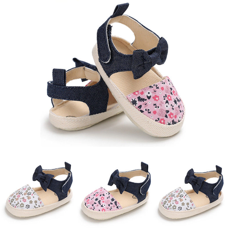Summer Cute Toddler Kids Baby Girl Bowknot Floral Print Sandals Shoes Cotton Flat With Heel Hook Shoes 3 Style Outfit 0-18M