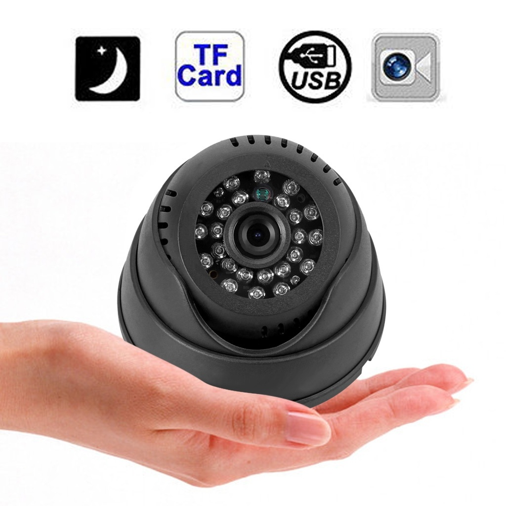 Dome Indoor CCTV Security Camera Micro SD/TF Card Night Vision DVR Recorder With 4GB Card ssk scrm 060 multi in one usb 2 0 card reader for sd ms micro sd tf white