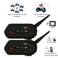 2 Pcs Newest E6 Motorcycle Bluetooth Headset Intercom 1200M Motorcycle BT3.0 Helmet Interphone Headset BT Helmet Intercom