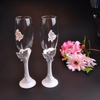Beautiful Butterfly Wedding Champagne Glass Set Decor Hanap Red Wine Cup Glasses Bride Groom Marry Cups