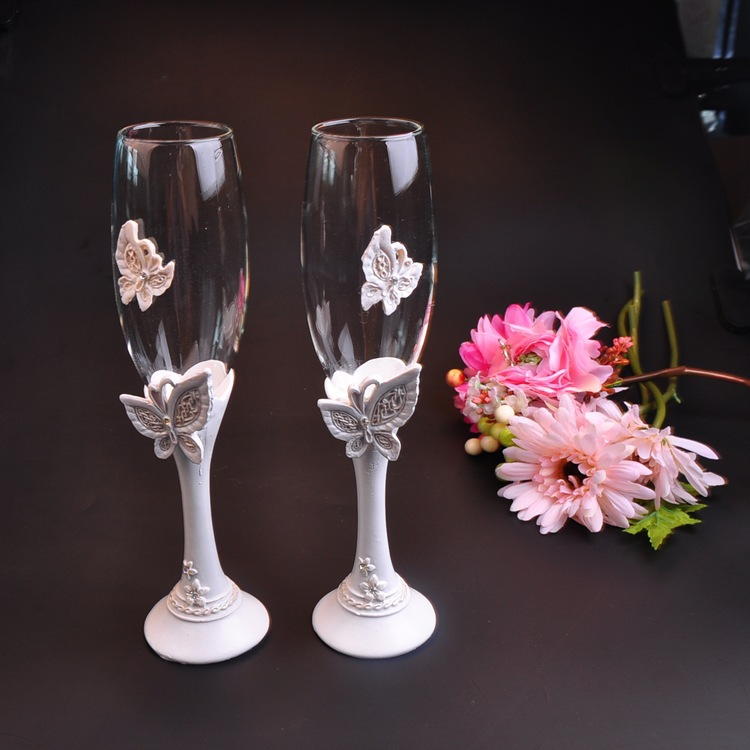 beautiful butterfly wedding champagne glass set decor hanap red wine cup glasses bride groom marry cups - Glass Decorations