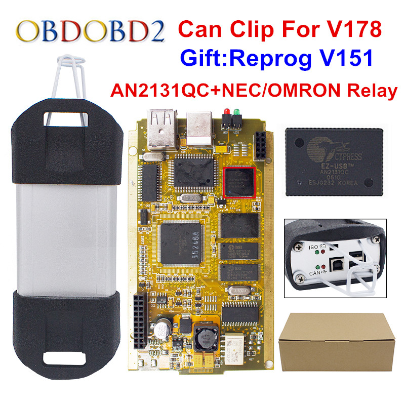 CYPERSS AN2131QC AN2135SC Full Chip Can Clip V178 + Reprog V172 Auto Diagnostic Interface Gold PCB For Can Clip Cars 1998-2017