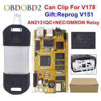 CYPERSS AN2131QC AN2135SC Full Chip Can Clip V178 + Reprog V172 Auto Diagnostic Interface Gold PCB For Can Clip Cars 1998 2017