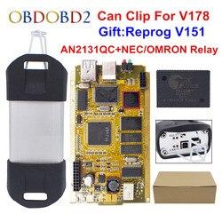 CYPERSS AN2131QC AN2135SC Pieno di Chip Può Fermare V178 + Reprog V172 Auto Interfaccia Diagnostica Oro PCB Per Can Clip Auto 1998-2017