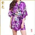 Marca Femenina Púrpura Impreso Floral Del Vestido Del Kimono Del Estilo Chino Satén de seda Robe Camisón de Flores Sml XL XXL XXXL