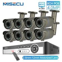 MISECU 8CH 4MP 보안 카메라 시스템 H.265 POE IP 카메라 2.8 12mm Maunally 렌즈 줌 야외 방수 비디오 감시 키트