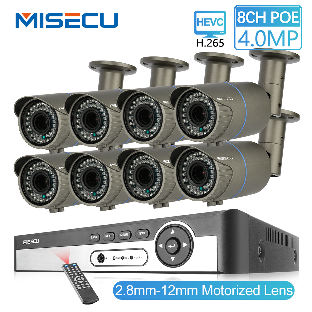 MISECU 8CH 4MP H.265 Sistema de Câmera de Segurança IP POE Câmera 2.8-12mm Maunally Lente Zoom de Vídeo Ao Ar Livre À Prova D' Água kit de vigilância