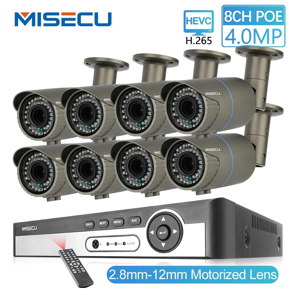 MISECU 8CH 4MP System kamer bezpieczeństwa H.265, że POE kamera IP 2.8-12mm Maunally obiektyw Zoom na świeżym powietrzu wodoodporna wideo zestaw do nadzorowania