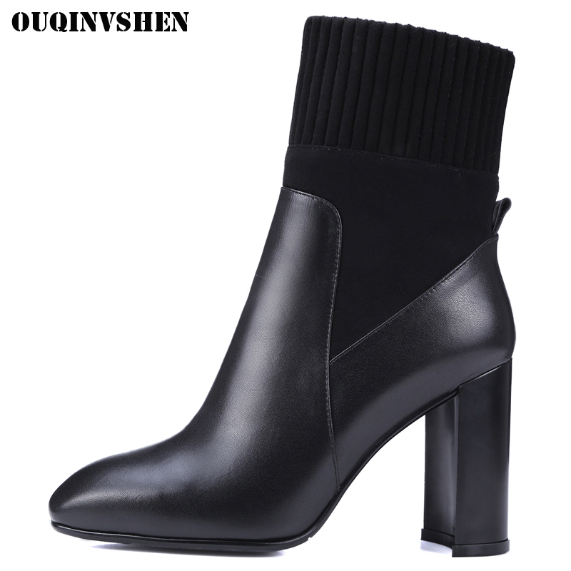 OUQINVSHEN Square Toe High Heel Women's Boots Fashion Square heel Women Ankle Boots 2017 Winter Zipper Genuine Leather Boots new arrival superstar genuine leather chelsea boots women round toe solid thick heel runway model nude zipper mid calf boots l63