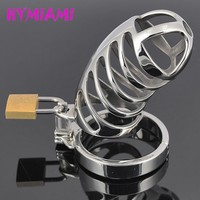 HYMIAMI Ergonomic Stainless Steel Stealth Lock Male Chastity Device Cage,Fetish Virginity Penis Lock,Cock Ring,Chastity Belt