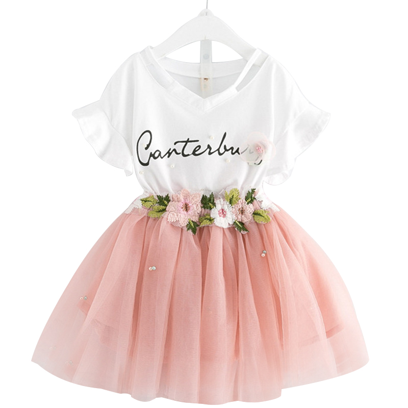 2018 New Casual Children Outfits Tracksuit Summer Clothing baby girls Floral t-shirt + girls tutu skirt Suit girls Clothing Set 2