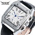 Fashion Cool Square Shape Wrist Watch Military Dress Stainless Steel Case Self-Winding Mechanical Calendar Chronograph Men Gift